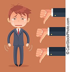 Sad businessman character and many hands with thumbs down. Vector flat cartoon illustration