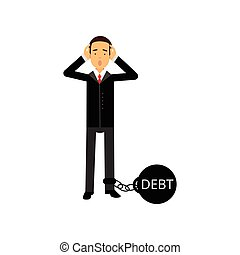 Sad businessman character with a big debt weight, business and financial failure, economic crisis vector Illustration