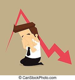 Sad businessman down arrow graph. vector