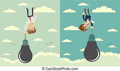 Sad businessman falling holding idea bulb as balloon . Set....