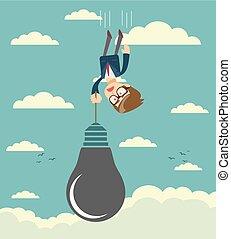 Sad businessman falling holding idea bulb as balloon .