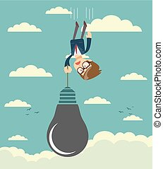 Sad businessman falling holding idea bulb as balloon . Stock...