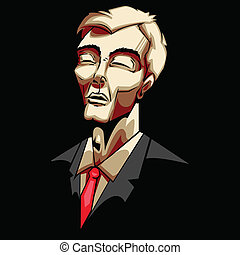 illustration of sad business man in pop art style