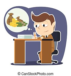 Sad businessman imagining moneys