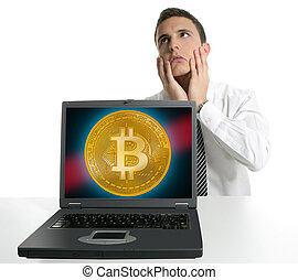 Sad businessman investing in Bitcoin BTC cryptocurrency