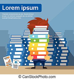 Sad Businessman Study Problem Hold Pile Stack Books, Lot of Work