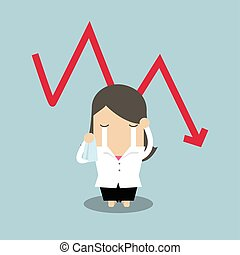 Sad businesswoman crying with falling down red arrow graph financial crisis.