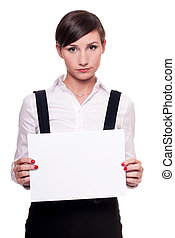 Sad businesswoman with a blank sheet of paper in her hands...