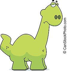 Sad Cartoon Apatosaurus - A cartoon illustration of a...