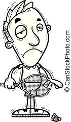 A cartoon illustration of a man badminton player looking sad.