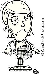 A cartoon illustration of a woman badminton player looking sad.