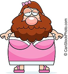 Sad Cartoon Bearded Lady