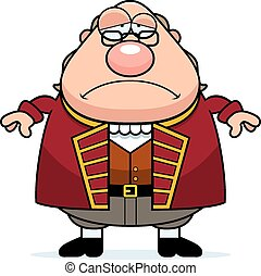 Sad Cartoon Ben Franklin - A cartoon illustration of Ben...
