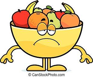 Sad Cartoon Bowl of Fruit