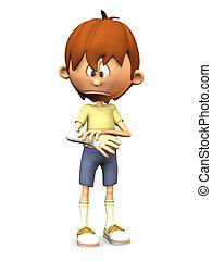 Sad cartoon boy with broken arm. - A cartoon boy looking at...