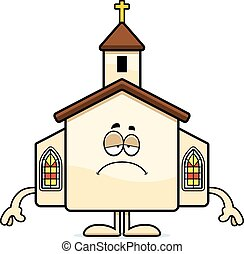 Sad Cartoon Church - A cartoon illustration of a church ...
