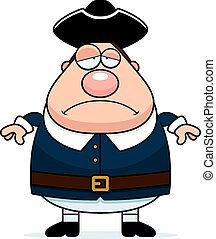 Sad Cartoon Colonial Man