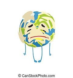 Sad cartoon Earth planet character crying, funny globe emoji vector Illustration