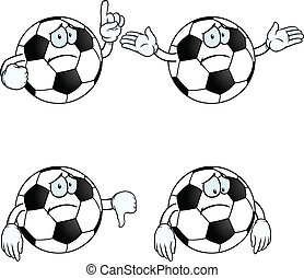 Sad cartoon football set