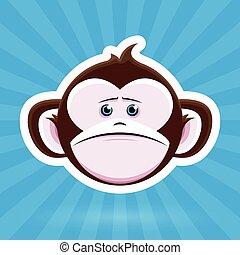 Sad Cartoon Monkey Face - blue