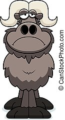 Sad Cartoon Ox - A cartoon illustration of an ox looking sad...