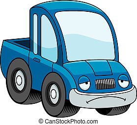 Sad Cartoon Pickup Truck - A cartoon illustration of a...