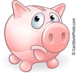 Sad Cartoon Piggy Bank