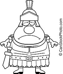 Sad Cartoon Roman Centurion - A cartoon illustration of a...