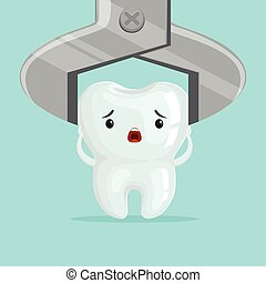 Sad cartoon tooth character extraction by dental forceps, childrens dentistry concept vector Illustration