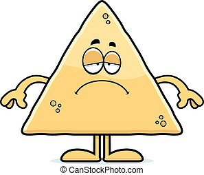 Sad Cartoon Tortilla Chip - A cartoon illustration of a...