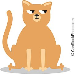 Angry grumpy cat flat vector