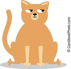 Angry grumpy cat flat vector - Sad cat. Angry grumpy cat...