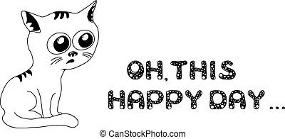 Sad cat in black and white