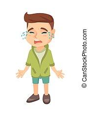 Sad caucasian boy sobbing. Full length of desperate little ...