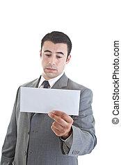 Sad Caucasian Hispanic Man Looking at Blank Envelope White