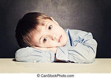 Sad Child Boy. Little Kid in Stress