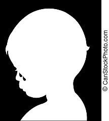 sad child crying, silhouette