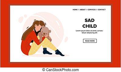 Sad Child Girl Lonely Sitting On Floor Vector