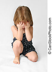 Sad child - Small caucasion girl with sad expression on his...