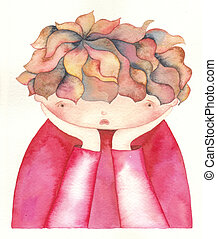 sad child - Watercolor illustration