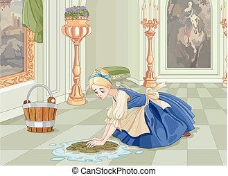 Sad Cinderella Cleaning - Sad Cinderella cleaning the floor...