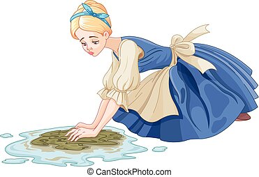 Sad Cinderella cleaning the floor with floor cloth