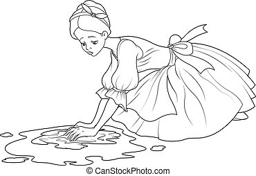 Sad Cinderella washes the floor with rag