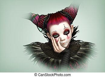 Sad Clown, 3d CG - 3d CG graphics of a sad looking clown