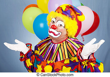 Sad Clown Gives Up - Sad clown throws up his hands in ...