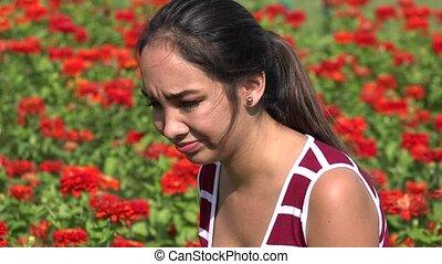 Sad Confused Hispanic Female Teen