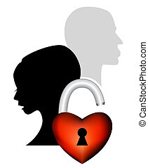 Sad couple having an argument - Symbolic icon of broken love...
