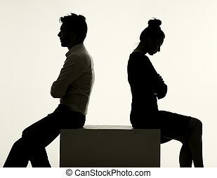 Sad couple having an argument - Sad couple having the ...