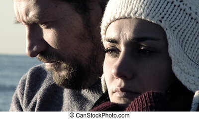 sad couple suffering sad