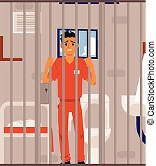 Sad criminal in prison cell looking through metal bars - ...